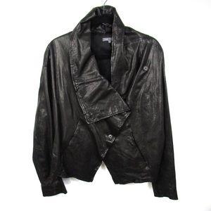 VINCE Leather Black Drape Front Jacket Sz M $995